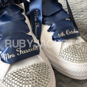 Navy Blue | Wedding Converse with Personalised Laces