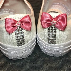 Dusky Pink Wedding Converse with Personalised Laces