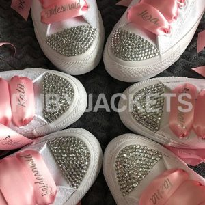 Baby Pink Bridesmaid Personalised Laces Wedding Converse