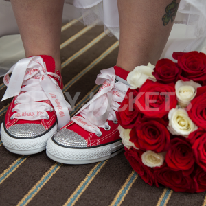 Red Canvas Converse with Personalised Ribbon Laces.